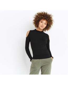 Ruffle Cold Shoulder Knit