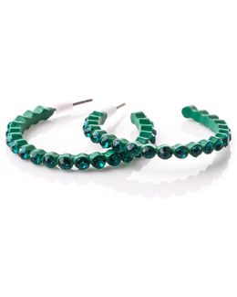 Teal Diamante Hoops