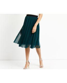 Spot Mesh Gathered Skirt
