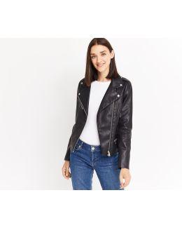 Faux Leather Zipped Biker