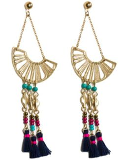 Beaded Fan Drop Earrings