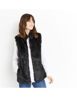 Faux Fur Gilet - Black