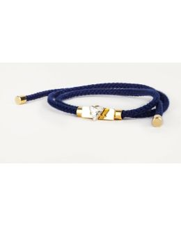 Navy Friendship Bracelet In 23kt Gold With Hand Painted Crystal