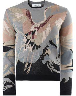 Jacquard Knit Heron Print Blue/pink