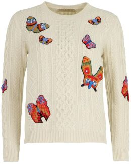 Textured Knit With Butterfly Embroidery Ivory