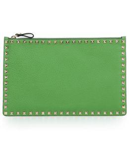 Rockstud Pouch Grained Leather Field Green