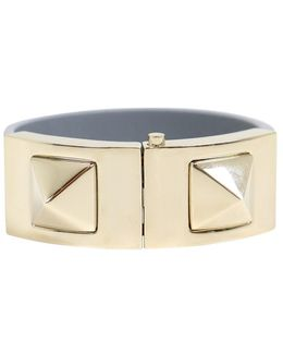 Rockstud Macro Leather Bracelet With Clasp Light Stone