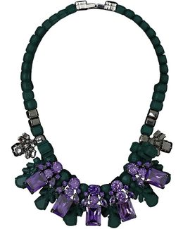 Silicone Five Jewel & Metal Neckpiece Dark Green/amethyst Crystals