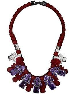 Silicone Five Jewel & Metal Neckpiece Red/amethyst Crystals