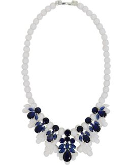 Silicone Seven Jewel Neckpiece White/dark Blue Crystals