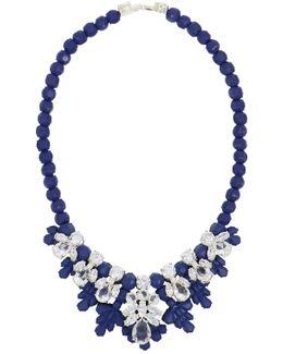 Silicone Seven Jewel Neckpiece Dark Blue/white Crystals