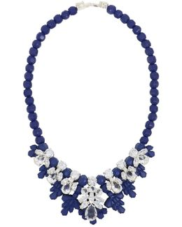 Silicone Seven Jewel Neckpiece Dark Blue/white Crystals