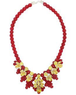 Silicone Seven Jewel Neckpiece Red/citrine Crystals