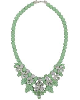 Silicone Seven Jewel Neckpiece Mint/white Crystals