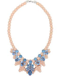 Silicone Seven Jewel Neckpiece Beige/blue Crystals