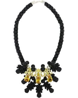 Silicone Three Jewel Neckpiece Black/citrine Crystals