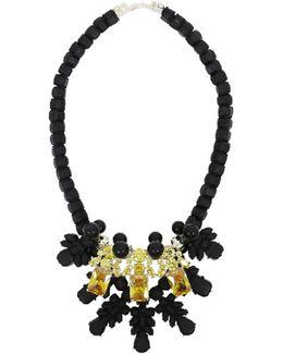 Silicone Three Jewel Neckpiece Black/citrine Crystals