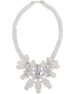 Silicone Three Jewel Neckpiece White/white Crystals