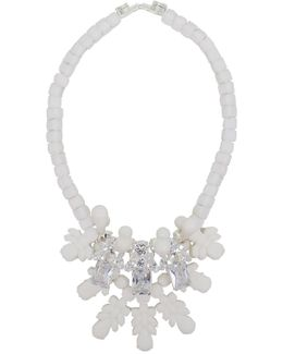 Silicone Three Jewel Neckpiece White/white Crystals