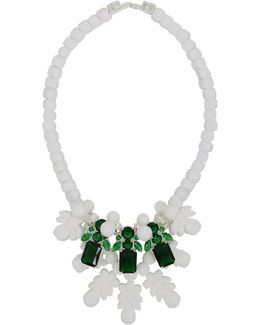 Silicone Three Jewel Neckpiece White/green Crystals