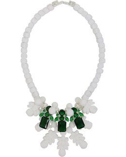 Silicone Three Jewel Neckpiece White/green Crystals