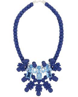 Silicone Three Jewel Neckpiece Dark Blue/light Blue Crystals