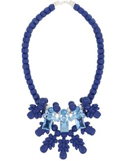Silicone Three Jewel Neckpiece Dark Blue/light Blue Crystals