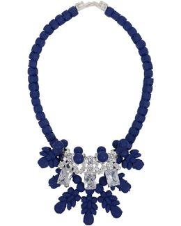 Silicone Three Jewel Neckpiece Dark Blue/white Crystals