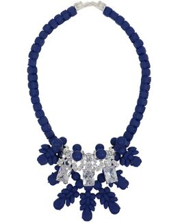 Silicone Three Jewel Neckpiece Dark Blue/white Crystals