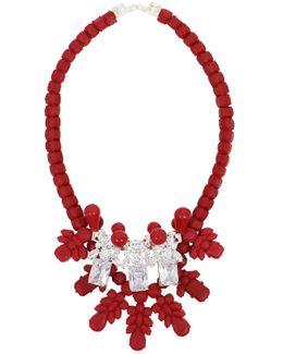Silicone Three Jewel Neckpiece Red/white Crystals