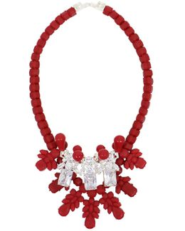 Silicone Three Jewel Neckpiece Red/white Crystals