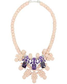 Silicone Three Jewel Neckpiece Beige/amethyst Crystals