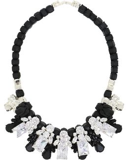 Silicone Five Jewel & Metal Neckpiece Black/white Crystals