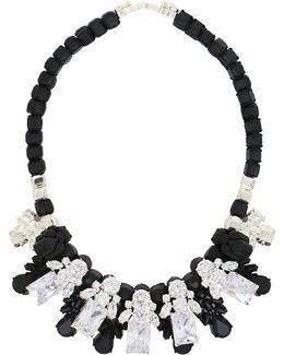 Silicone Five Jewel & Metal Neckpiece Black/white Crystals