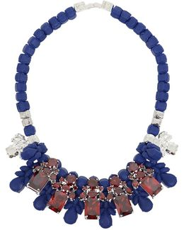 Silicone Five Jewel & Metal Neckpiece Dark Blue/red Crystals