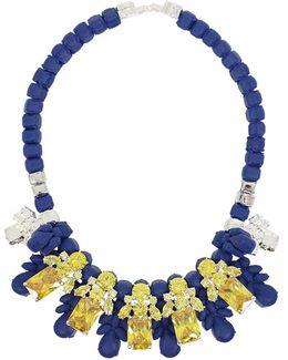 Silicone Five Jewel & Metal Neckpiece Dark Blue/citrine Crystals