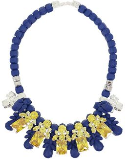 Silicone Five Jewel & Metal Neckpiece Dark Blue/citrine Crystals