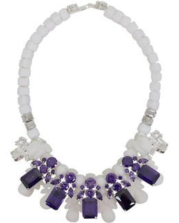 Silicone Five Jewel & Metal Neckpiece White/amethyst Crystals