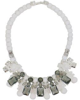 Silicone Five Jewel & Metal Neckpiece White/black Crystals