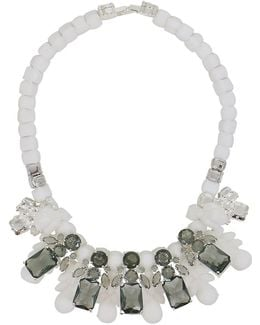Silicone Five Jewel & Metal Neckpiece White/black Crystals