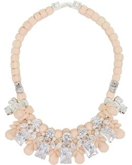 Silicone Five Jewel & Metal Neckpiece Beige/white Crystals