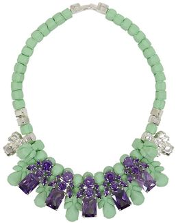 Silicone Five Jewel & Metal Neckpiece Mint/amethyst Crystals
