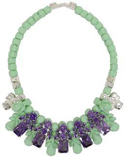 Silicone Five Jewel & Metal Neckpiece Mint/amethyst Crystals