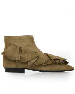 Ruffle Boot Desert Suede