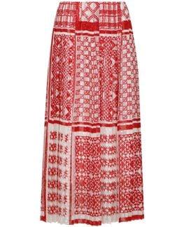 Pleated Geometric Print Skirt Red/white