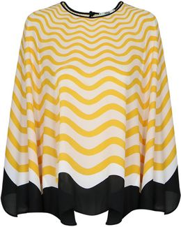 Wave Print Cape Top Yellow