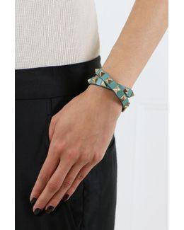 Rockstud Wrap Leather Bracelet Aqua