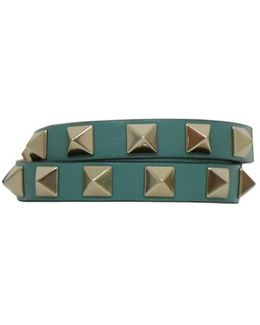 Rockstud Wrap Leather Bracelet Aqua