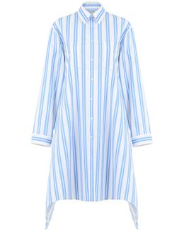 Stripe Shirt Dress White/blue
