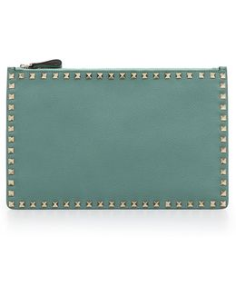 Rockstud Pouch Grained Leather Aqua